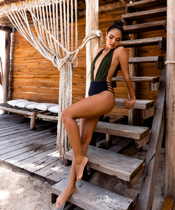 Noa Kai Moani One Piece in Forest Green and Midnight Black Swimsuit