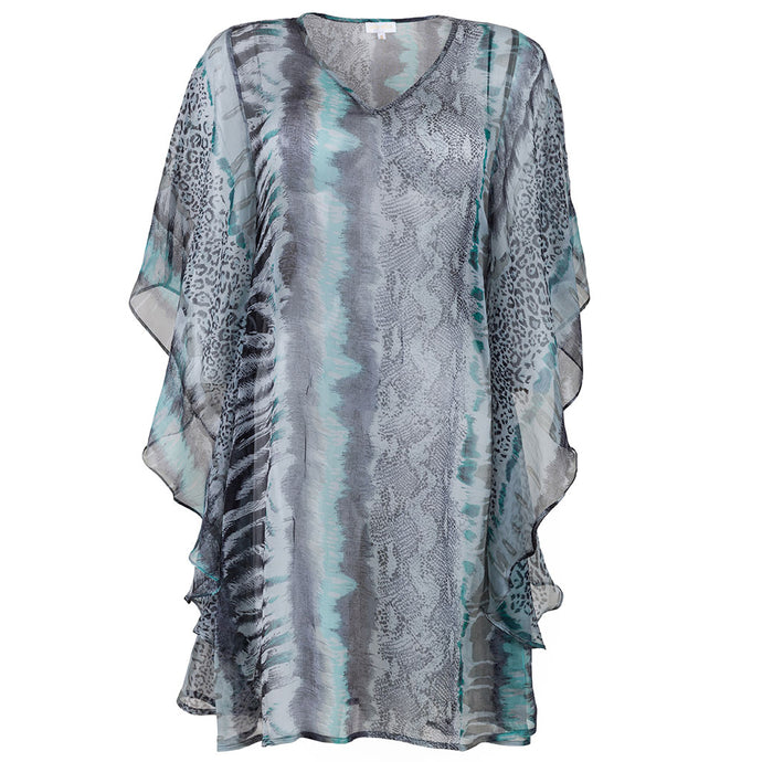 Patricia Caftan Silk Grey Animal Print