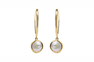 Julie Miles Gold Baroque Pearl Earrings