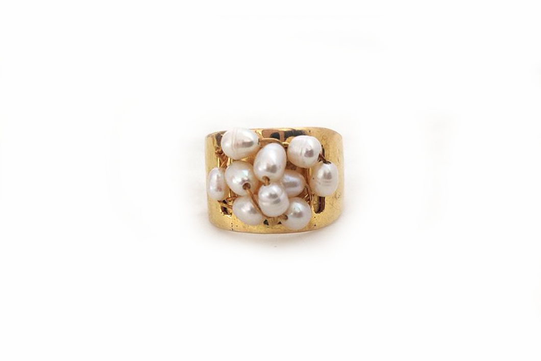 Julie Miles Gold Pearl Cluster Ring