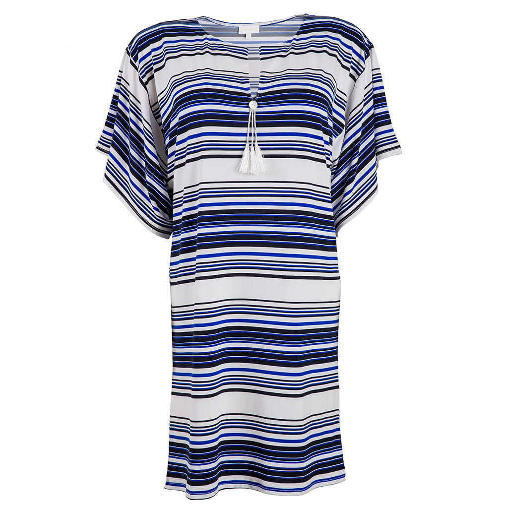 Pom Pom Dress Navy & White Stripes
