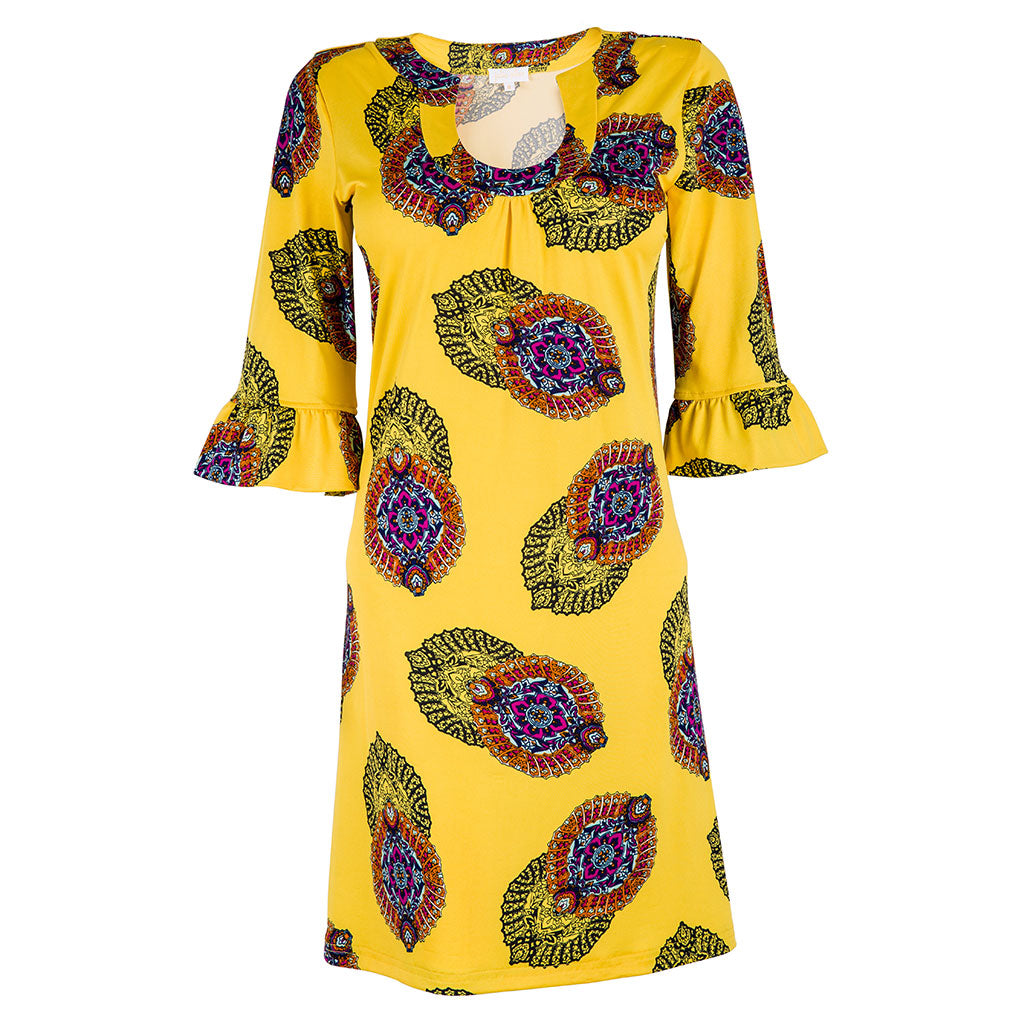 Romy Dress Yellow Print