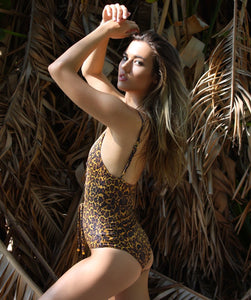 Savannah One Piece Lace Up Swimsuit in Leopard Print