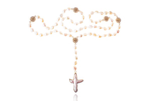 Julie Miles Pearl Rosary Gold Necklace
