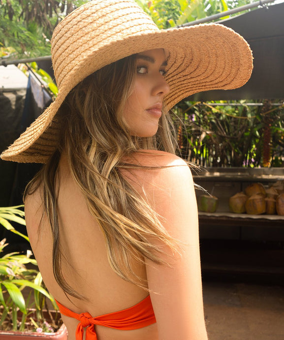 Talisa Raffia Wide Brim Beach Hat