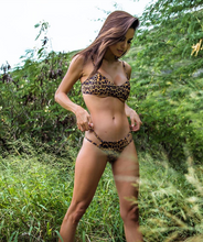 Load image into Gallery viewer, Valeria Classic Low Waist Two Strap Bikini Bottom in Leopard Print