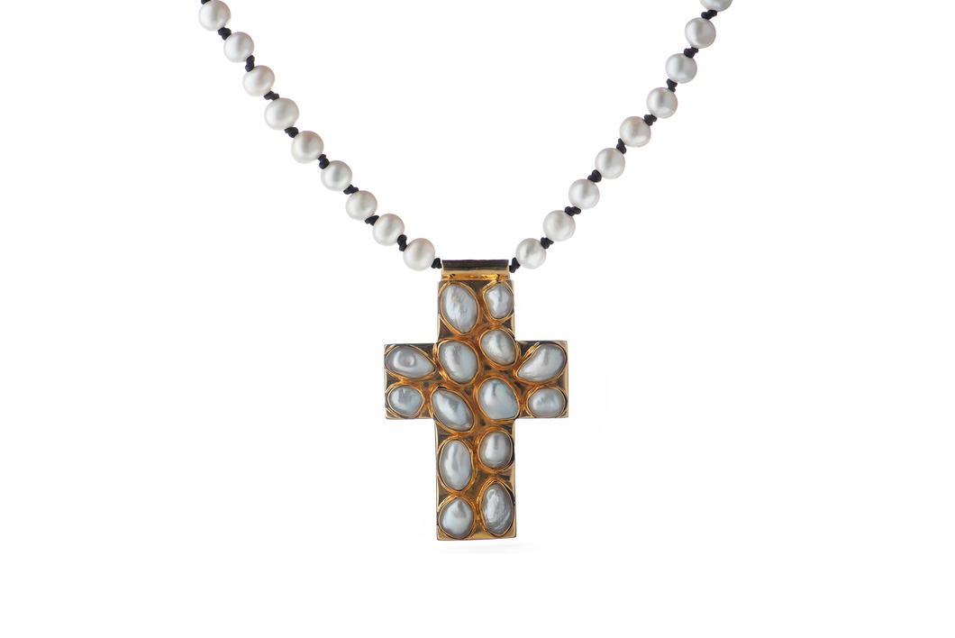 Julie Miles Pearl Cross Necklace