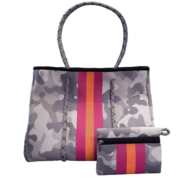 Neoprene Tote Bag Grey Camo w/ Stripes