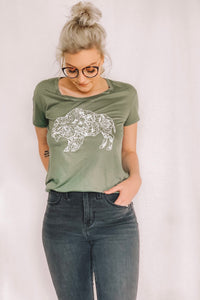 Army Green Floral Buffalo Tee