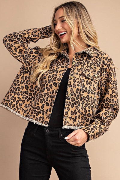MEOW Leopard Denim Jacket