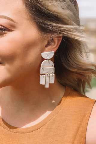 Pearl Aztec Clay Earrings