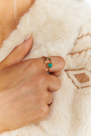 Turquoise Crescent Adjustable Ring