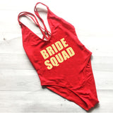 Womens BRIDE SQUAD One Piece Swimsuit Cross Back Bathing Suits