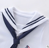 Summer cotton baby short-sleeved triangle navy sailor style jumpsuit