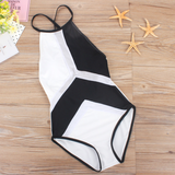 Womens Chic Black & White One-Piece Swimsuit