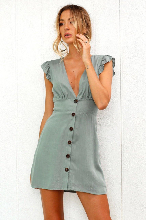 Sexy V-Neck Button Front Chic Light Mini Dress - Loving Lane Co