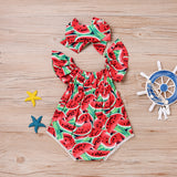 Watermelon Romper Set | Flying Sleeve Red Watermelon Printed Lace Baby Climbing Suit