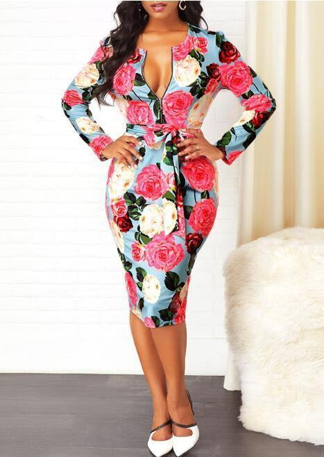New Gorgeous Chic Floral Print Midi V Neck Dresses Small to Plus Sizes - Loving Lane Co