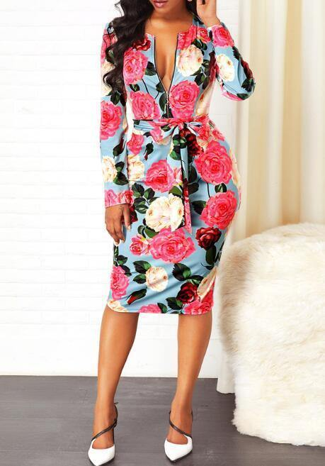 New Gorgeous Chic Floral Print Midi V Neck Dresses Small to Plus Sizes
