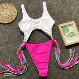 One Piece Tassels Swimsuit High Cut Swimwear Sexy Pink White Bikini