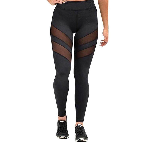 Black Mesh Slit Fitness Leggings Womens Yoga Pants