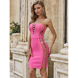 Sexy Pink Strapless Bodycon Dress
