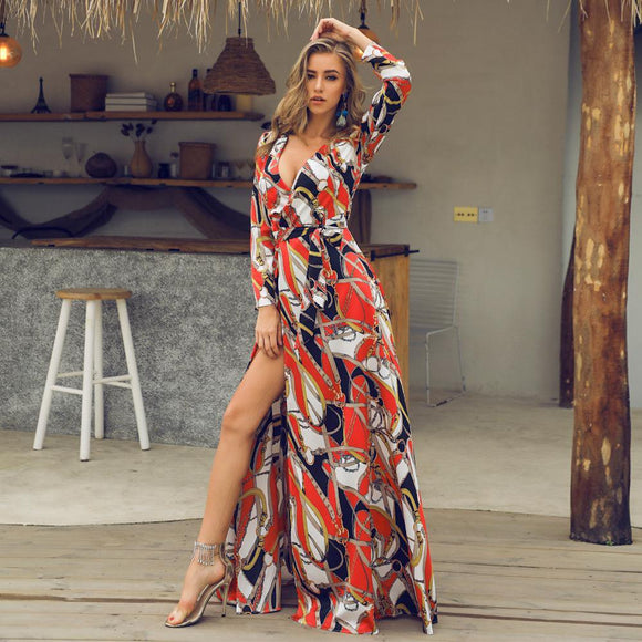 Women's Sexy High Slit Floral Maxi Dresses - Loving Lane Co