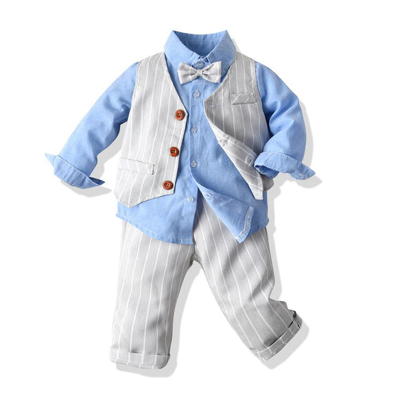 Adorable Baby Boy Dress Clothes Toddler Pants Shirt Vest and Bow Tie