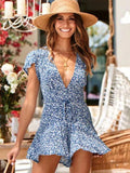 Deep V Light Blue Romper Floral Print Jumpsuit - Loving Lane Co