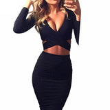 Sexy Long Sleeve Cut-Out Bandage Mini Dress