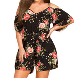Womens Plus Size Floral Romper Short Sleeve Jumpsuit