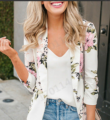 New Women's Jackets Long Sleeve Floral Blazers