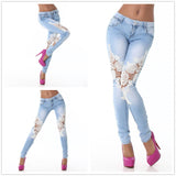 Cute Meets Sexy with our New Denim and Lace Ripped Jeans