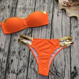 Bikinis Set Women Swimwear Push Up Paded Bikinis Bronzing Solid Swumsuit Strapless Women Beachwear Bathing Suit - Loving Lane Co