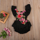 Adorable White Floral and Black Floral Baby Rompers