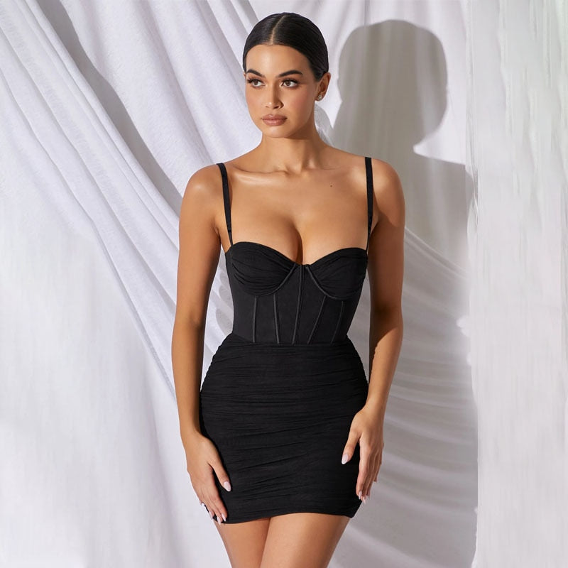 Corset Push Up Top Bodycon Mini Summer Party Night Club Backless Dresses