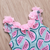 Watermelon Print Petal Lace Girl Swimsuit