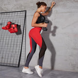 Womens Red and Grey Durable Breathable Workout Leggings