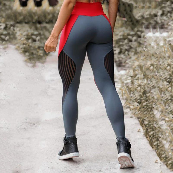 Womens Red and Grey Durable Breathable Workout Leggings - Loving Lane Co