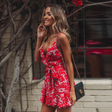 Printed strap V-neck strap dress