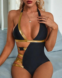 Women's Black and Gold High Waist One Piece Swimsuit - Loving Lane Co
