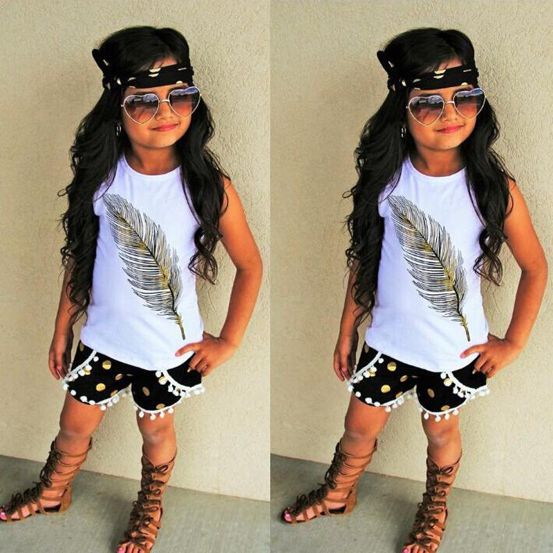Feather pattern sleeveless top + shorts two-piece children's wear - Loving Lane Co