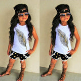 Feather pattern sleeveless top + shorts two-piece children's wear