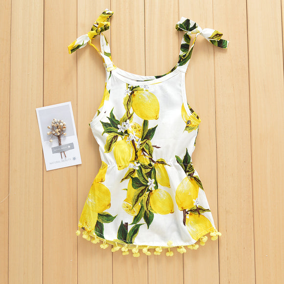 Lemon Print Camisole Tassel Dress For Baby Girl