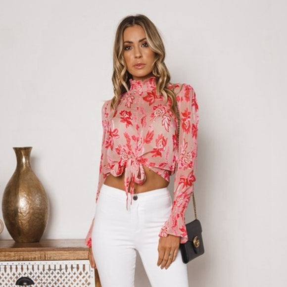 Womens Boho Floral Blouse Cut Off Top