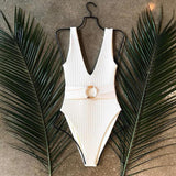 Women's Chic O Ring Belt One-Piece Swimsuit