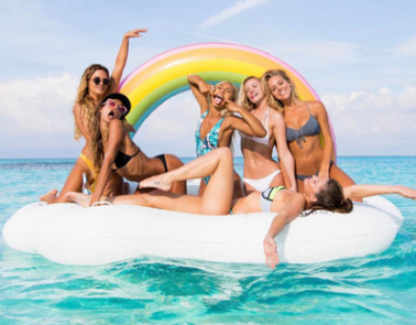 New Inflatable Rainbow Floating Island Cloud Floating Large Bacholrette Party Float