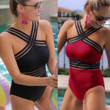 Sexy One Piece Swimsuit Women High Neck Bandage Cross Back Neck Monokini Black Swimwear Women Bathing Suits