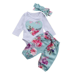 Baby Girls Broadcloth Fabric Cotton Regular Full Sleeve O-Neck Floral Covered Button Closure Clothes Set