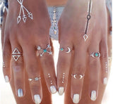 Turquoise Moon Arrow Elephant Joint Ring 6 Piece Set Ring Set Women